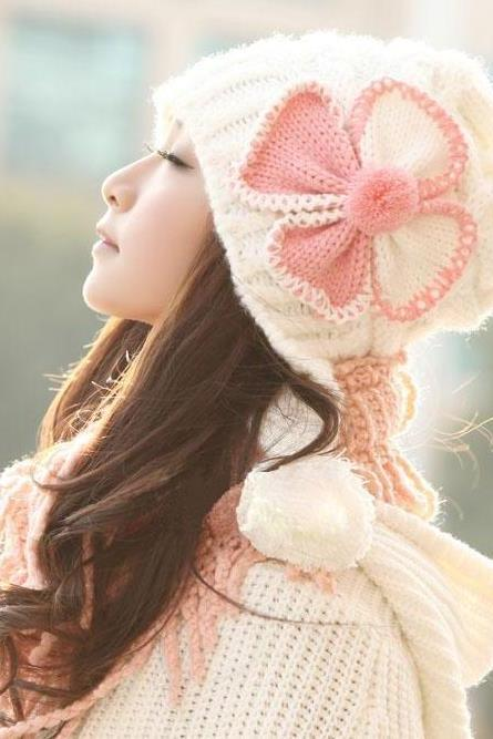 Cute Bow Winter Women's Knitted Hat Knitted Cap