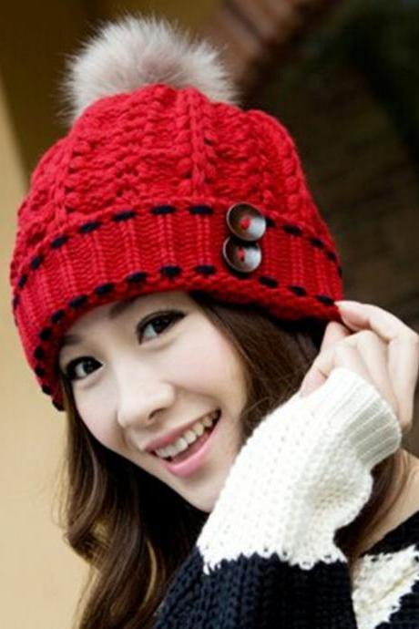 Nice Special Design Winter Women's Knitted Hat Knitted Cap