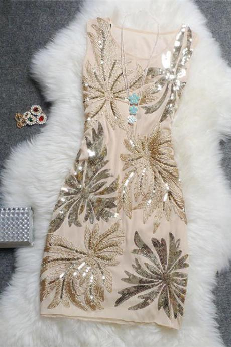 Embroidery Leaves Dress With Sequins Dtail