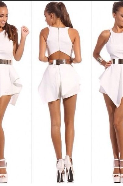 Europe And The United States Vest Skirt Jumpsuits Sexy Dress White