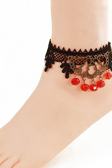 Crystal jewelry Anklets Black Lace decorated feet lady socialite noble jewelry