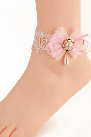 Beautiful sexy lace Anklet pink bow pearl female small ornaments