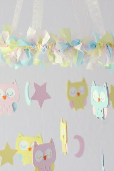 Owl Nursery Mobile in Baby Pink, Baby Blue & Yellow