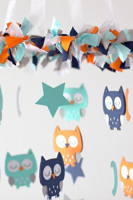 Owl Nursery Mobile in Aqua, Orange, Gray, Navy Blue & White