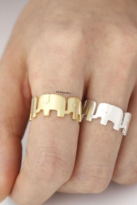 Cute Elephant Family in Row Band Ring in silver/ gold, S0338S
