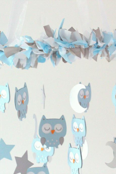 LARGE Owl Nursery Mobile in Baby Blue, Gray & White