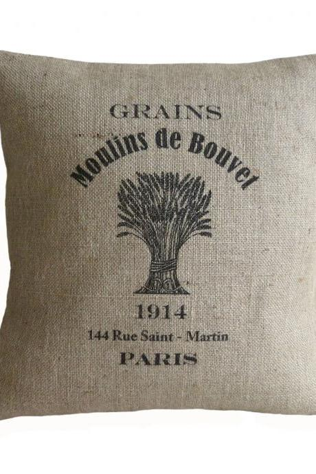 Vintage French Grain Sack Paris Pillow Cover