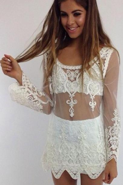 CUTE LACE FLOWER TOP BLOUSE SMOCK