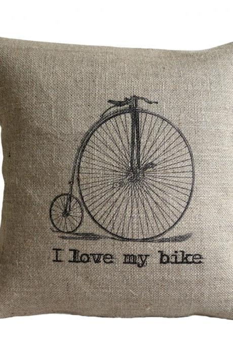 I Love my Bike Vintage Bicycle Pillow Cover