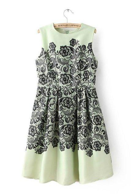 Green Sleeveless A-line Knee-length Dress with Black Floral Lace Print