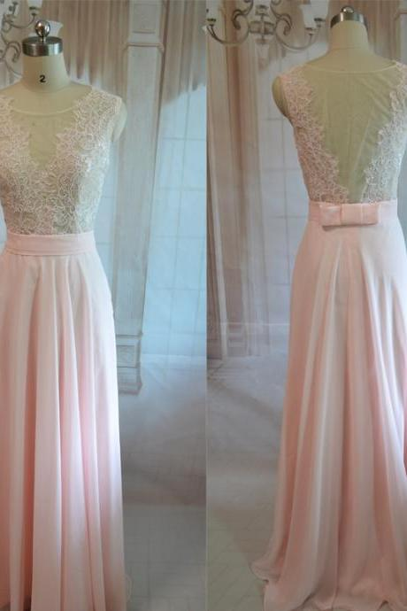 Pink prom dress,Fashion Backless chiffon Long Prom Dress,Long party Dress, Fashion evening dress New Arrival,Pink Bridesmaid dress