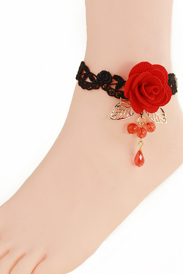 Fashion Accessories Black Lace Anklet Red Crystal Rose Female Foot With Ornaments