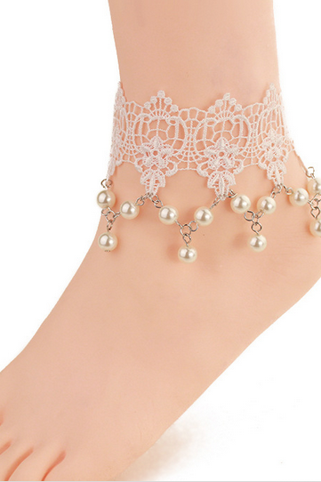 Sweet Fresh Jewelry Anklets Foot Ring Pearl Decorated Feet Female Jewelry