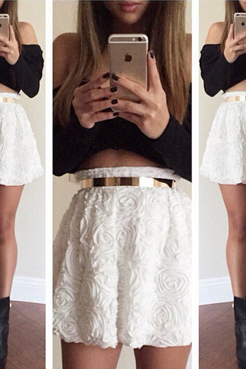 The flower bud silk skirt