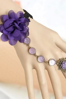 Bohemia Wind Purple Flowers Lace Ladies Bracelet With One Chain Ring