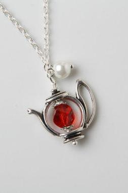 Teapot Necklace - red crystal and pearl - red teapot necklace - Antique silver - Alice in Wonderland jewelry tea time necklace - tea