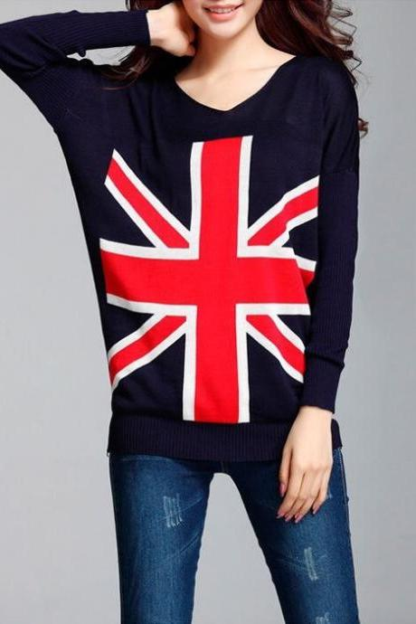 Long Sleeve Women Knitted Cardigan UK Flag Pattern Sweater Casual V-Neck Women Plus Size
