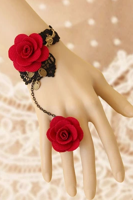 Black Lace Roses Bracelet With One Chain Ring Female Jewelry