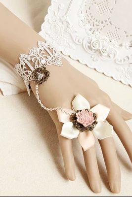 Cherry Blossom Rose Lace White Female Bracelet Even One Chain Ring Bride Bridesmaid Jewelry