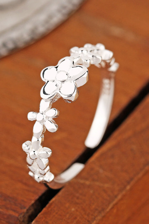 S925 Sterling Silver Ring folk style retro small fresh flower ring mouth ring girls hypoallergenic jewelry