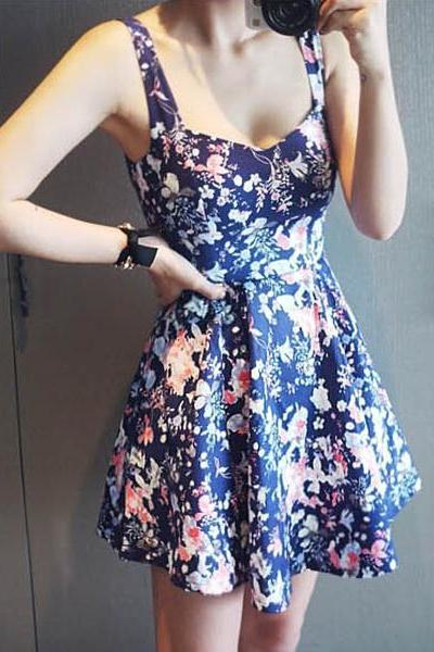 Floral Printed Dress With High Waist 063038