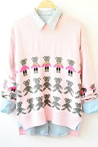 Cute Pink Bear Print Sweater