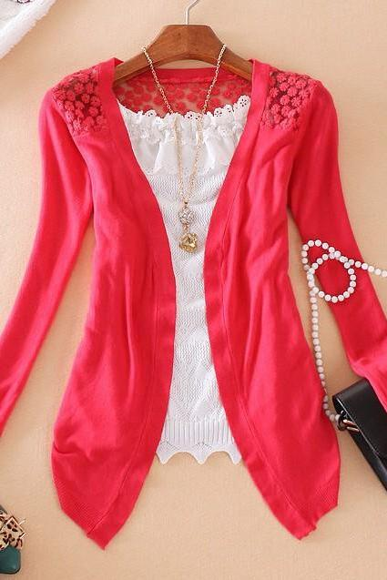 Women Long Sleeve Lace Knitting Hollow Out Crochet Blouse Sweater