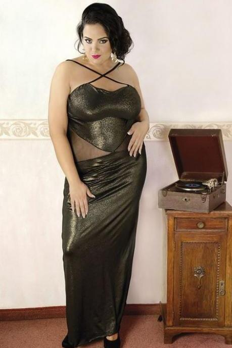 sexy nightwear Elegant Black Long Dress plus queen size L 1X 2X 3X 4X XL 2XL 3XL 4XL 42 - 56 EU , 10 - 24 UK