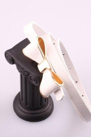 Cute bow white tie buckle leather woman belt