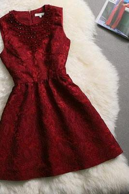 Elegant Wine Red Beaded A Line Dress