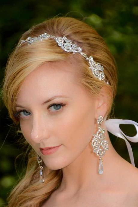 Vivian Swarovski Crystal and Cubic Zirconia Rhinestone Ribbon Bridal Headband Headpiece