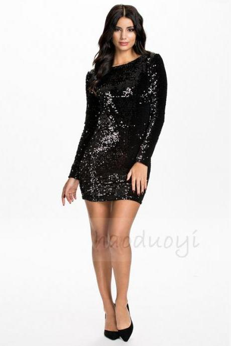 Sexy black sequined back hollow slim long sleeved dress dress skirt