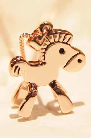 The little wooden horse Necklace Rose Gold Lock bone chain female Valentine Gift