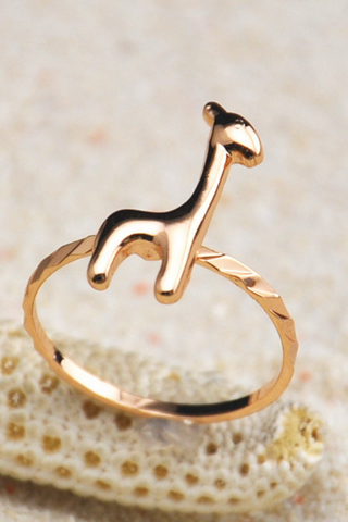 Lovely 18K gold plated giraffe head simple ring