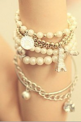 Retro tower pearl coin multiple combination Bracelet