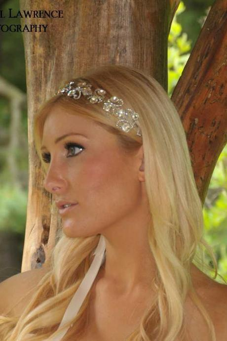 Charlize Glamorous Swarovski and Cubic Zirconia Bridal Ribbon Headband Headpiece