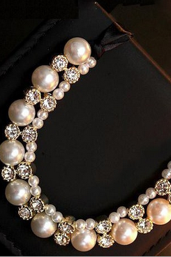 Double row pearl diamond short chain necklace