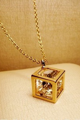 Diamond cubic box short necklace zircon crystal necklace female clavicle close friend Rose Gold Chain