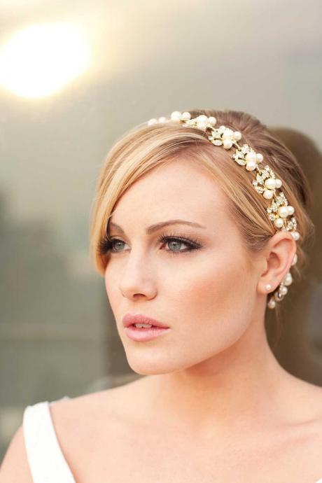 Jacqueline - Stunning Golden Rhinestone and Pearl Ribbon Headband