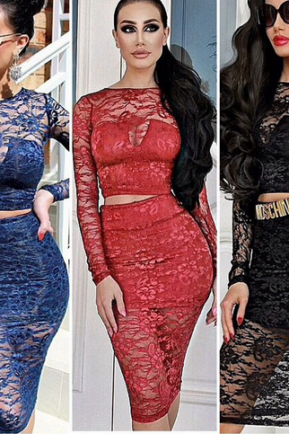 Sexy Women Bodycon Lace Two Piece Long Sleeve Club Dresses