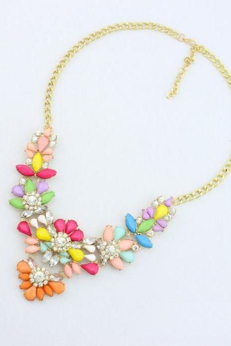Flowers rhinestones colorful statement party woman necklace
