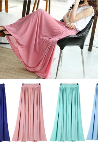 2014 pleated chiffon long skirt women