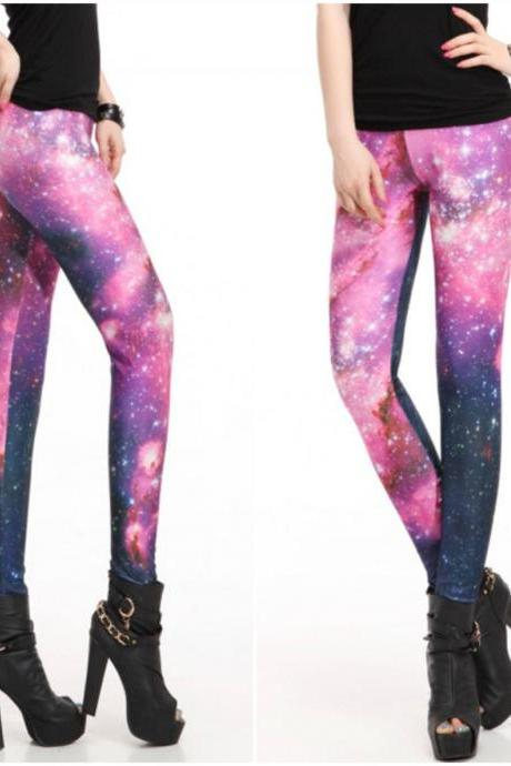 Elastic Waist Fitted Galaxy Leggings