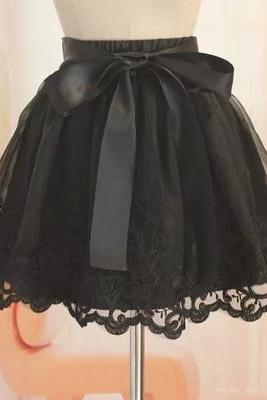 High Quality Organza Skirt with Embroidery, Stylish Skirts, Black Skirts, Women Skirts