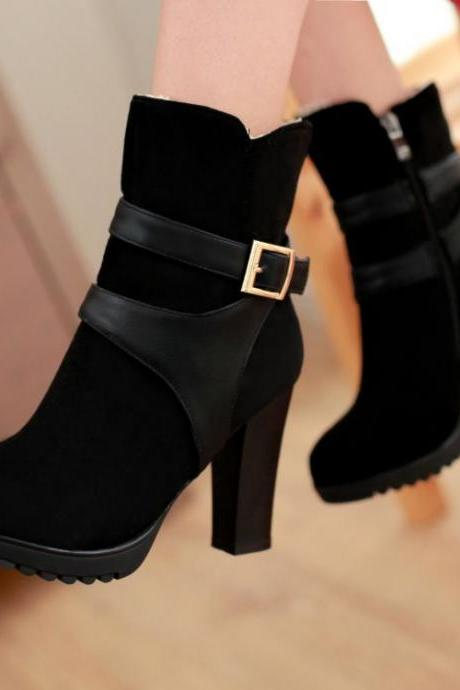 Winter Round Toe Chunky High Heel Black Boots