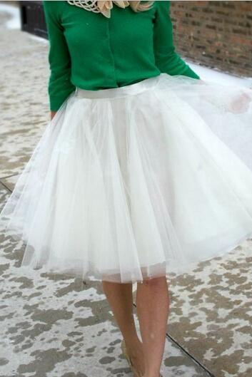 Lovely Tulle White Skirt, Cute Women Skirts, Skirts 2015, Women Skirts