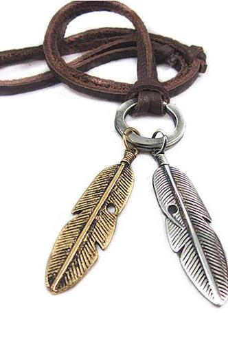 Feather Pendant Necklace Brown Leather Necklace Cute Jewelry Necklace Gift