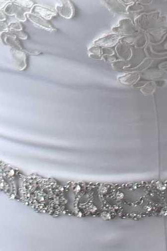 Antoinette - Silver Clear Crystals Rhinestones Bridal Belt with a Vintage Flair