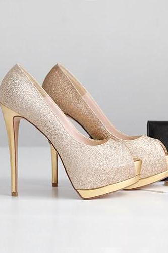 Shimmery Peep Toe Stiletto Pumps with Gold Heels