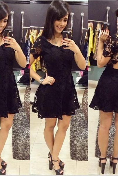 Black Short-sleeved lace dress ASDF11